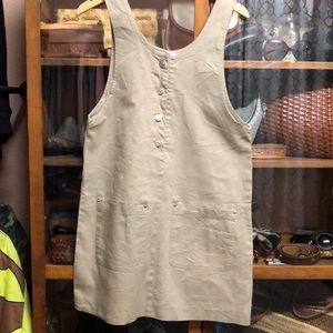 Vintage Brown 90s Overall button Dress